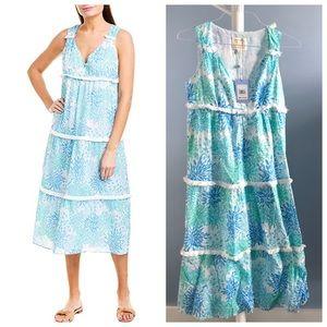Sail to Sable Blue & Green Coral Print Midi Dress